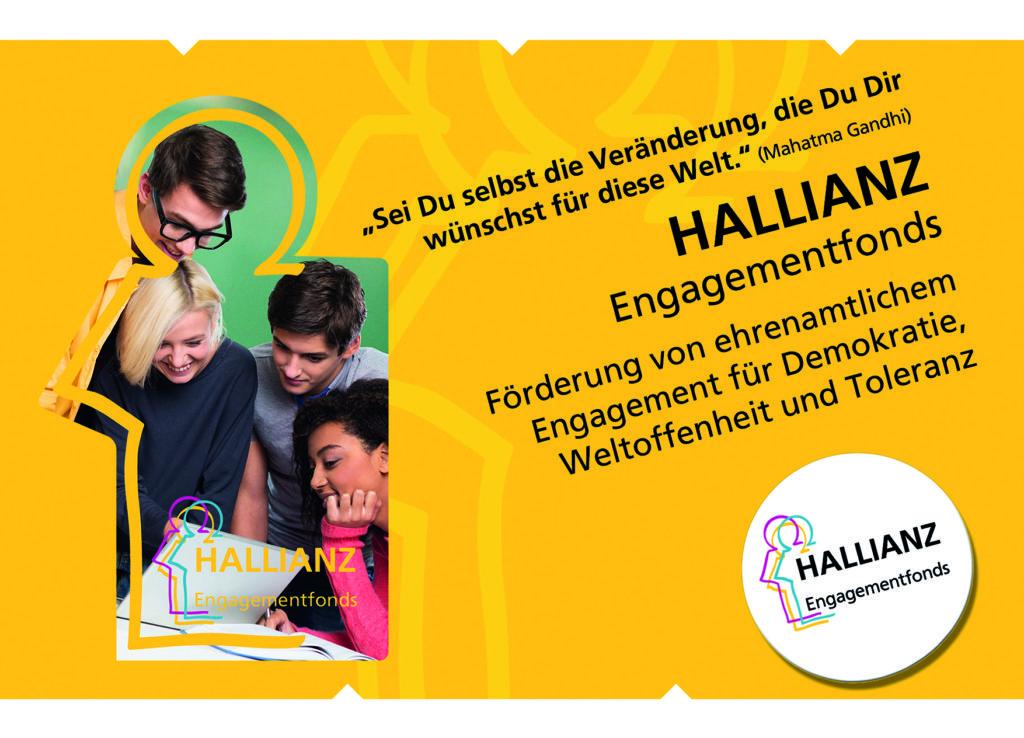 gelbe Postkarte des HALLIANZ Engagementfonds