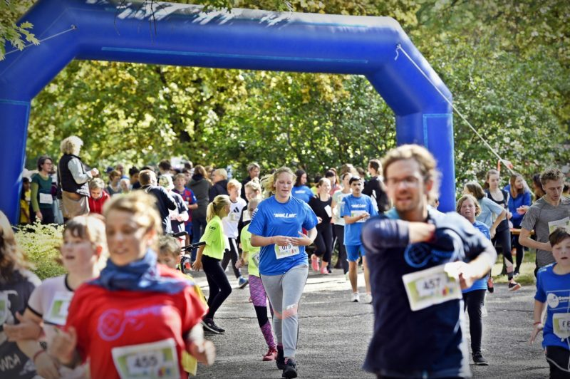 Viele Menschen laufen auf einer Laufstrecke beim HALLIANZ Spendenlauf