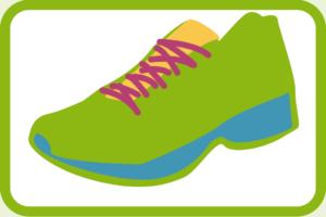 ein grüner Laufschuh